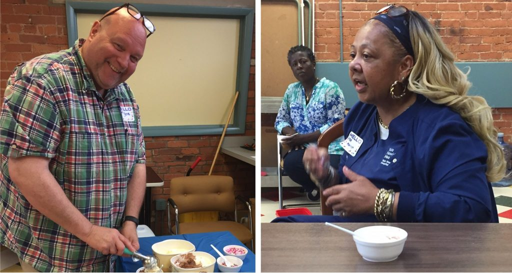 Man and woman attending Ice Cream Social